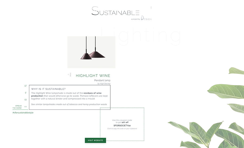 Screenshot of SforSustainable page
