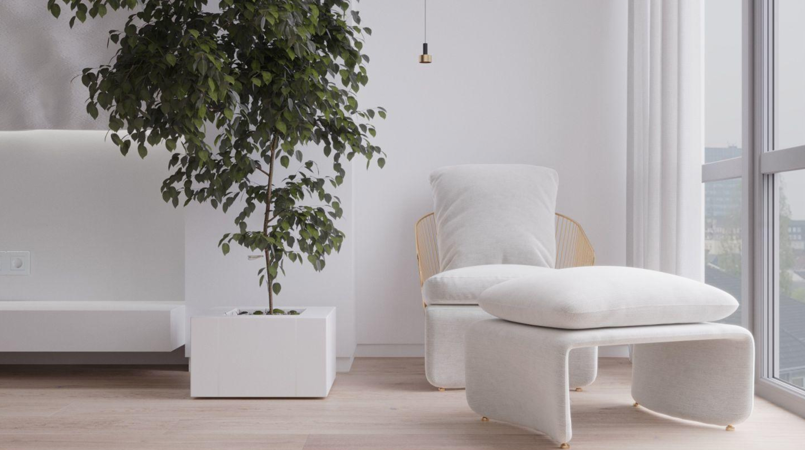 Biophilic living room corner, ideal for snuggling and having some privacy.