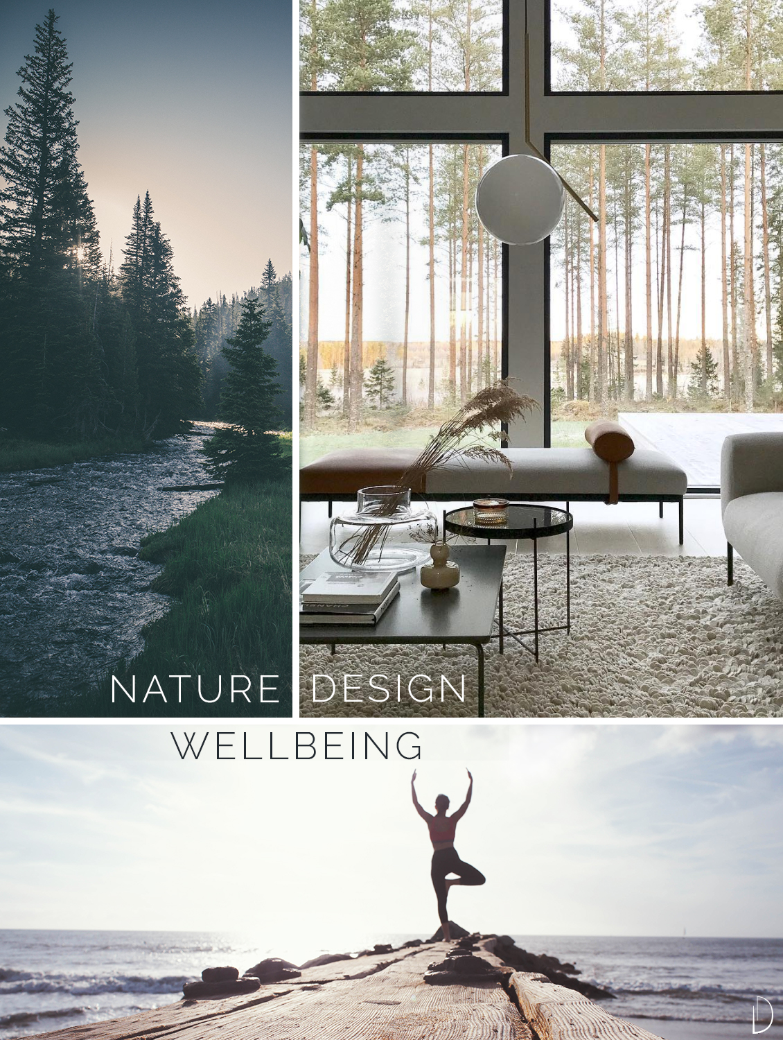 Biophilic moodboard showing the relationship between nature (a forest), wellbeing (a girl doing yoga in front of a lake) and biophilic interior design (a living room with huge windows looking outdoors).