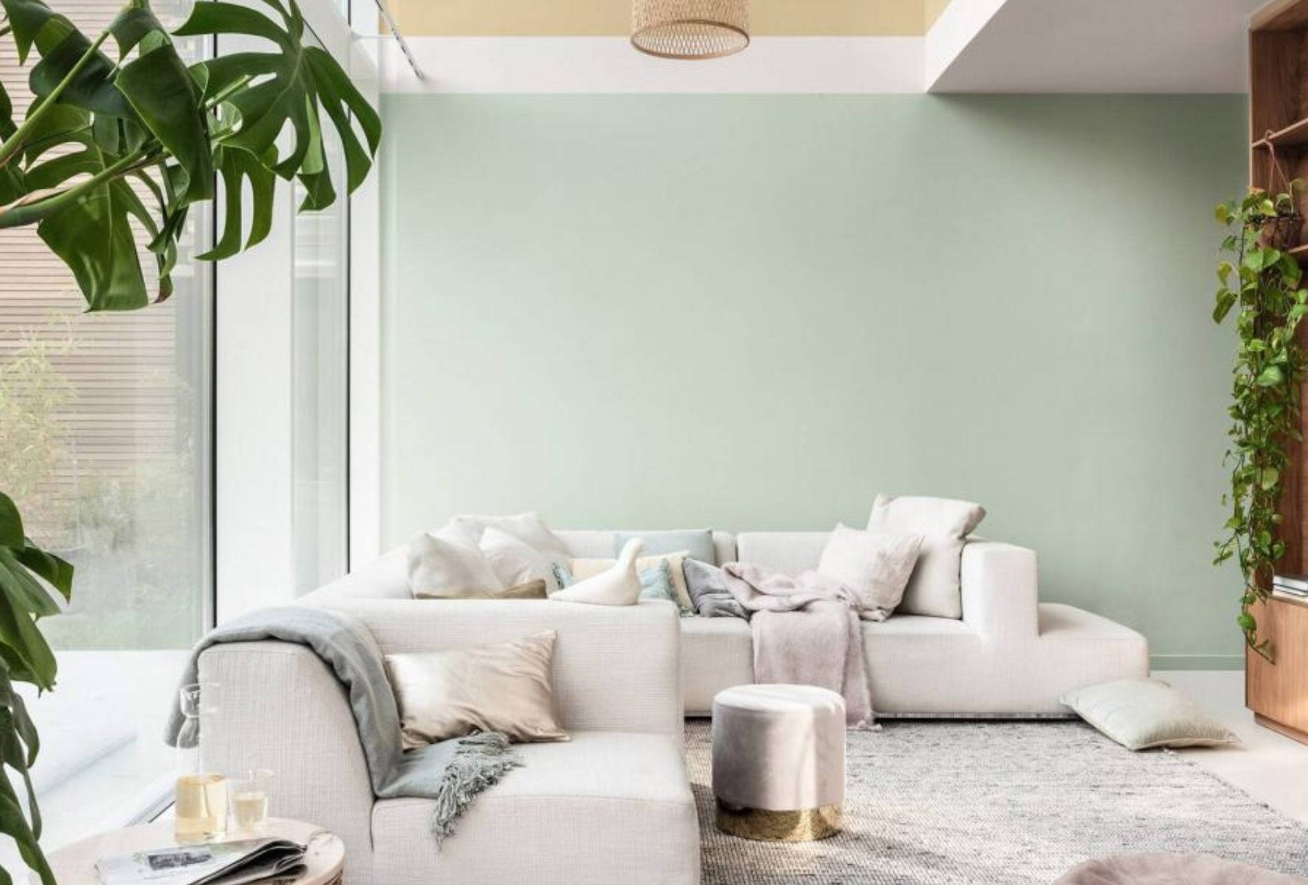 Biophilic living room with Tranquil Dawn walls, clear sofa and plenty of natural light.
