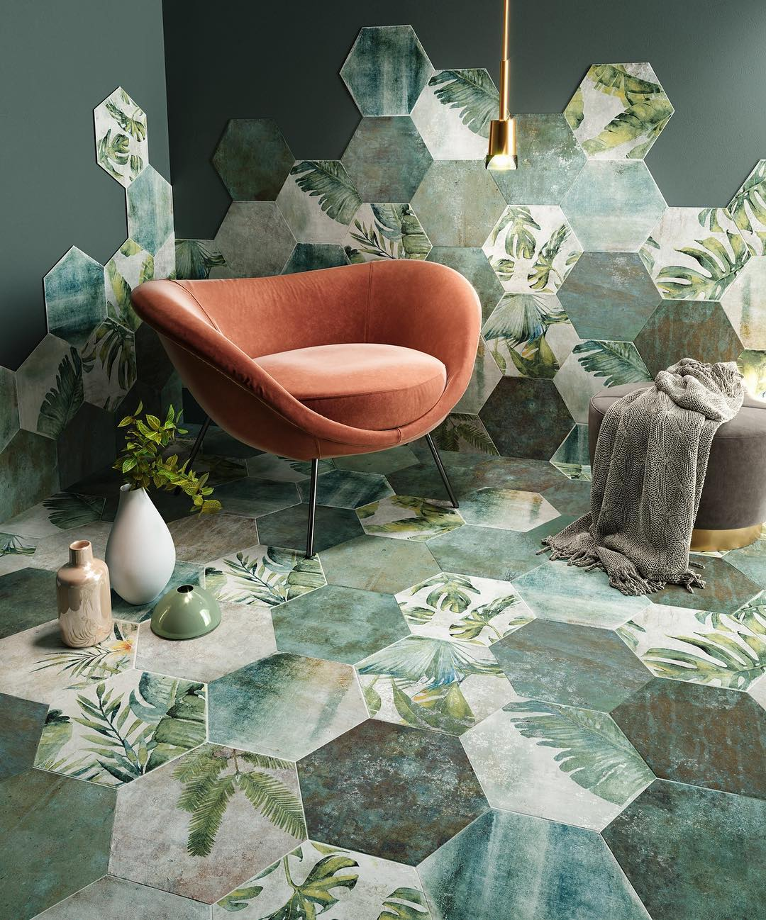 Relax corner with biophilic hexagonal tiles with a leaf pattern.