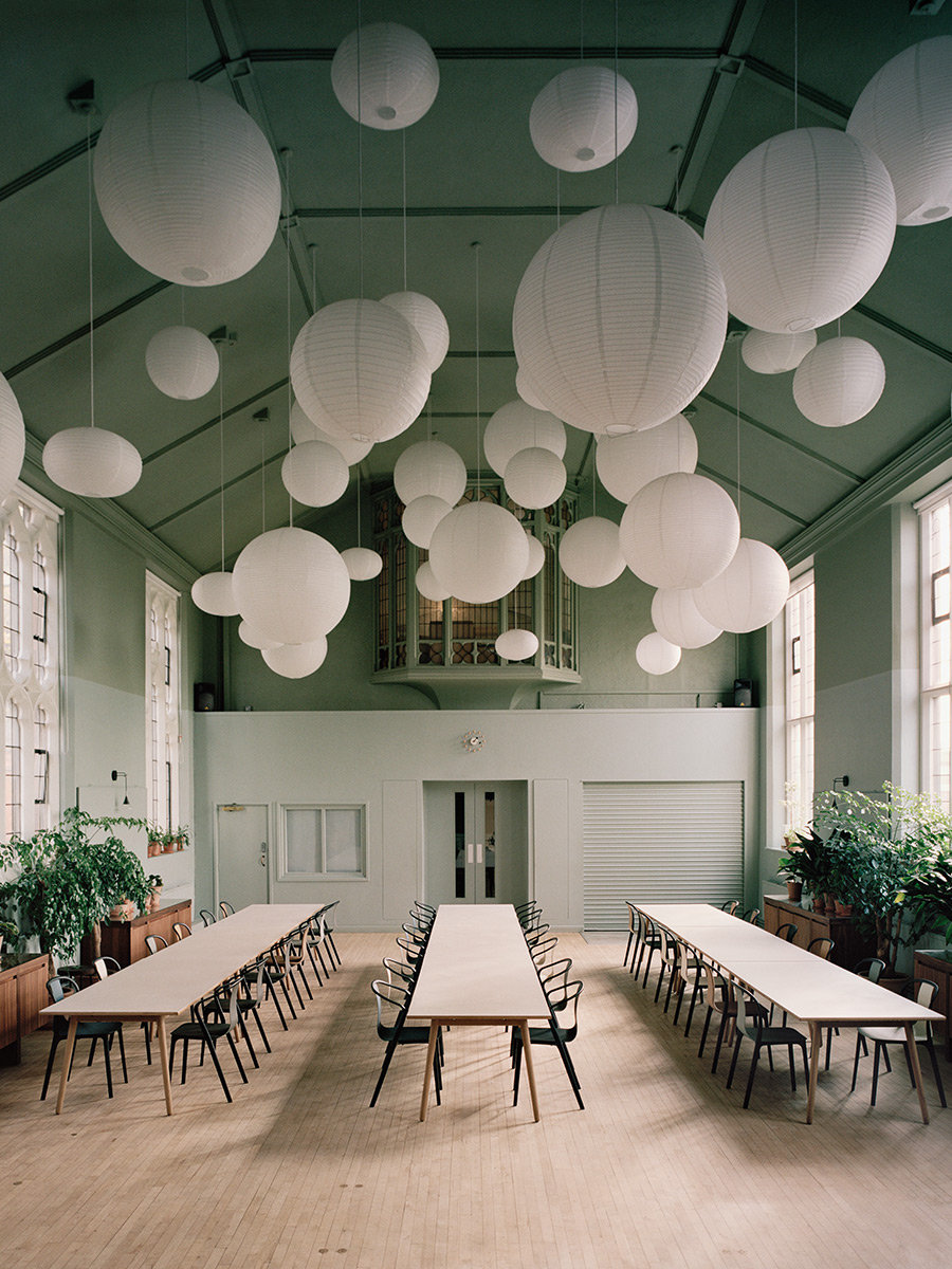 Biophilic dining room with Tranquil Dawn ceiling.