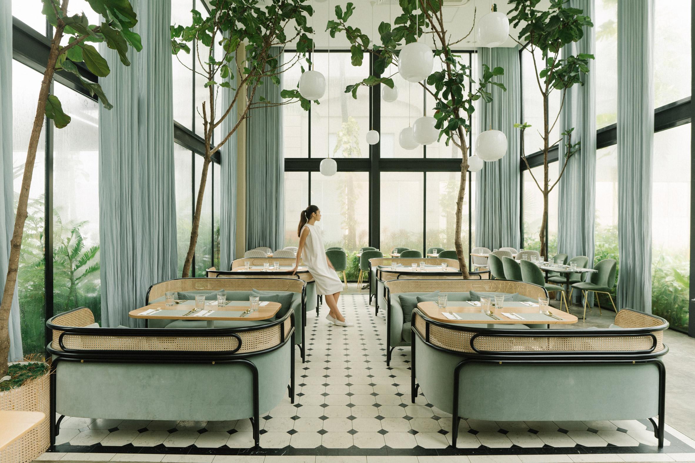 Biophilic restaurant design in Tranquil Dawn.
