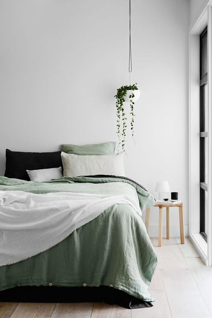 Biophilic bedroom with Tranquil Dawn bedding.