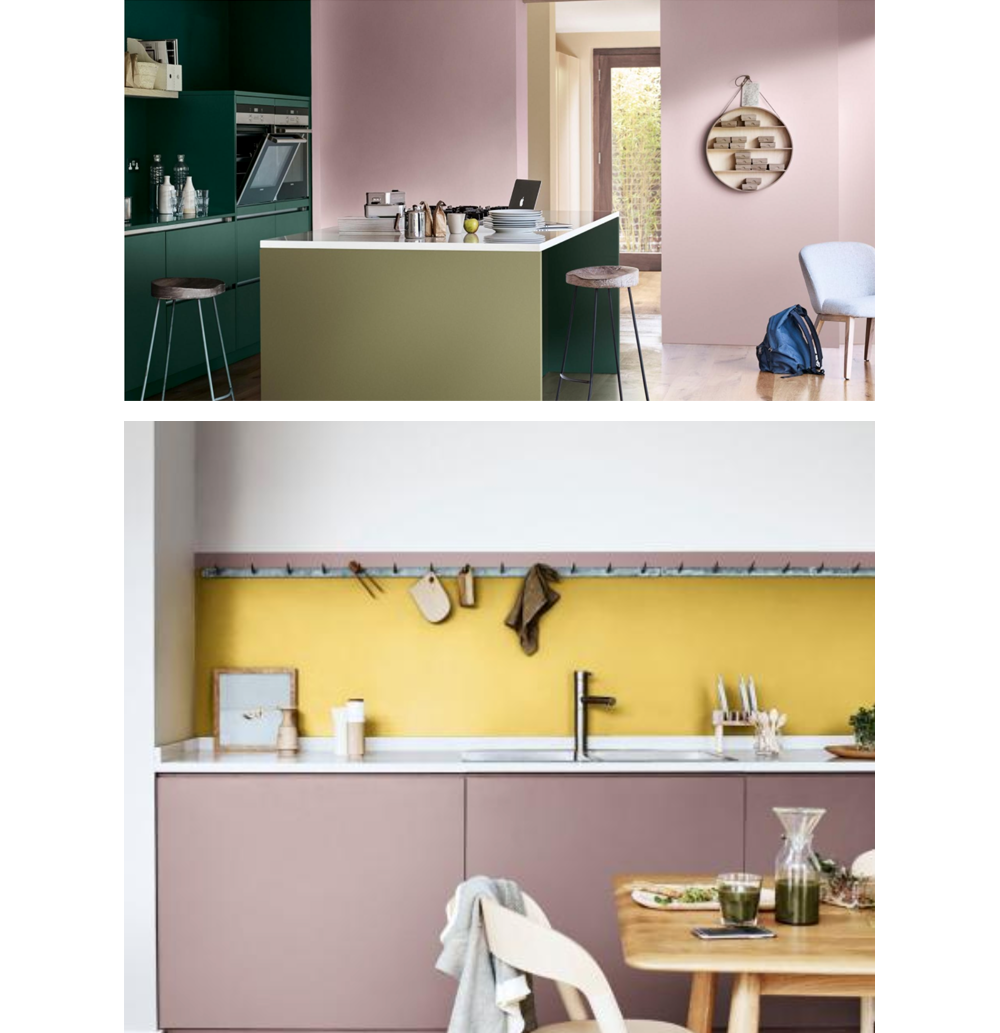 Two kitchens. 1: deep green cabinets and walls painted in Heart Wood (2018 colour of the year by Akzo Nobel). 2: Heart Wood cabinets and yellow backsplash.