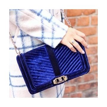 86538244a Chevron Quilted Small Velvet Love Crossbody - Hinted
