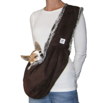 Microsuede And Luxe Faux Fur Dog Sling