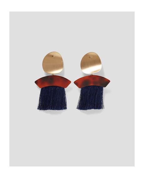 Earrings With Fringe And Metal Hintd