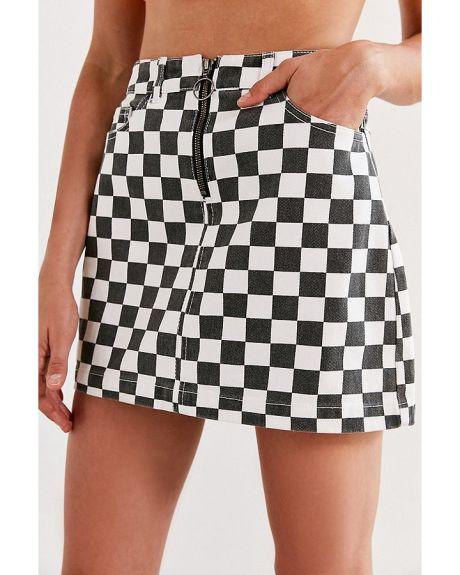 df4a178aff BDG Checkered Denim Zip Mini Skirt. menta_neri | urban outfitters