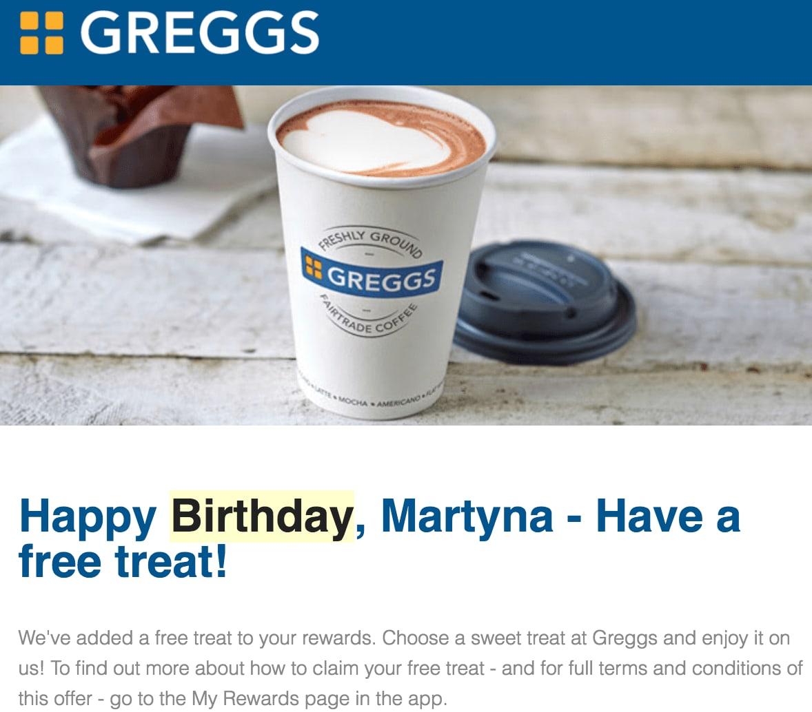 free coffee - birthday freebies from greegs