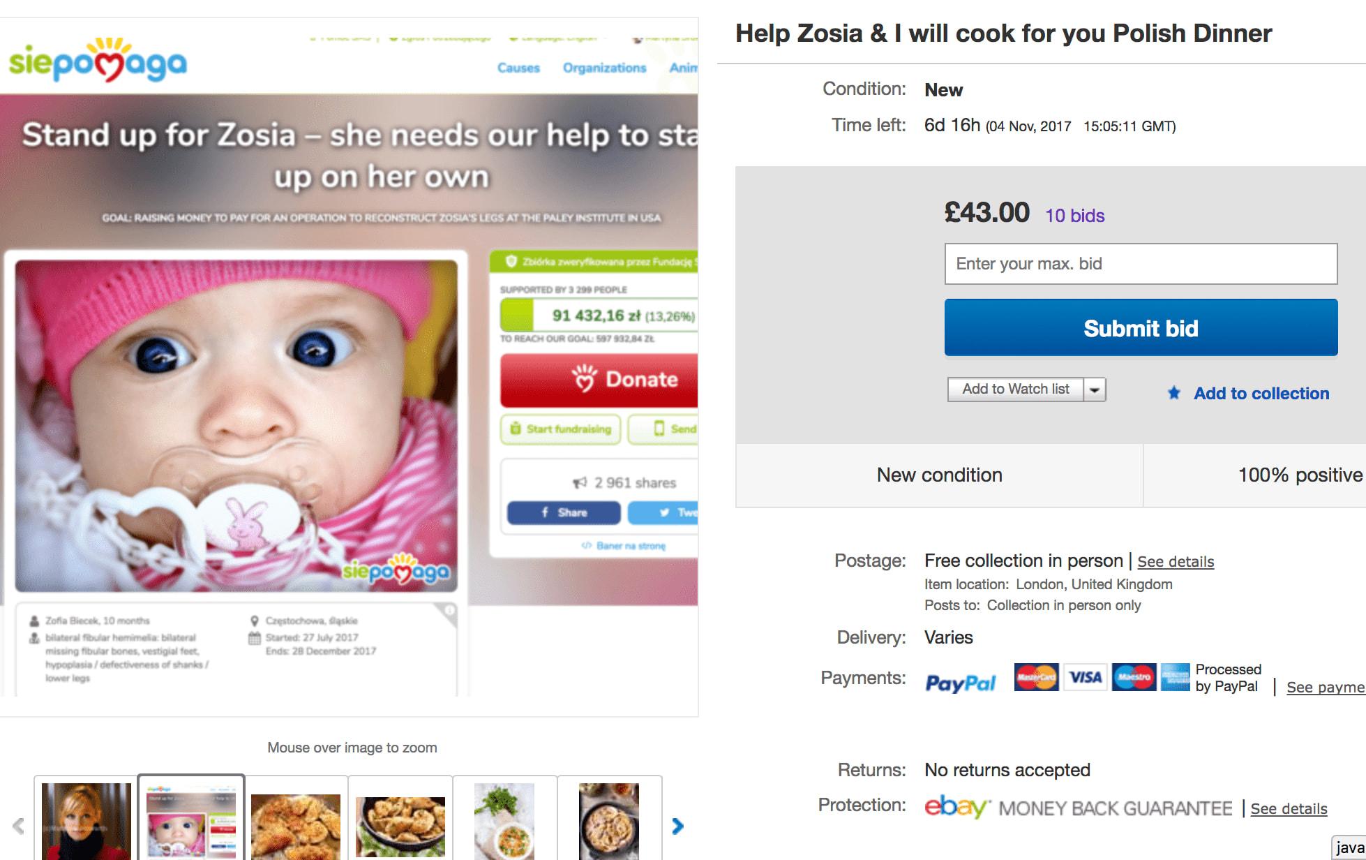 eBay ad for Zosia