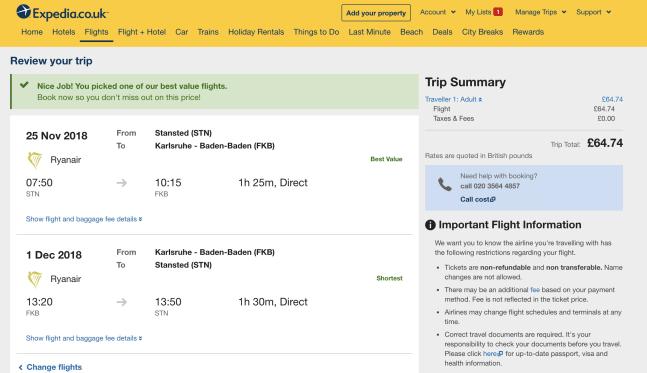 Expedia Cheap flight search
