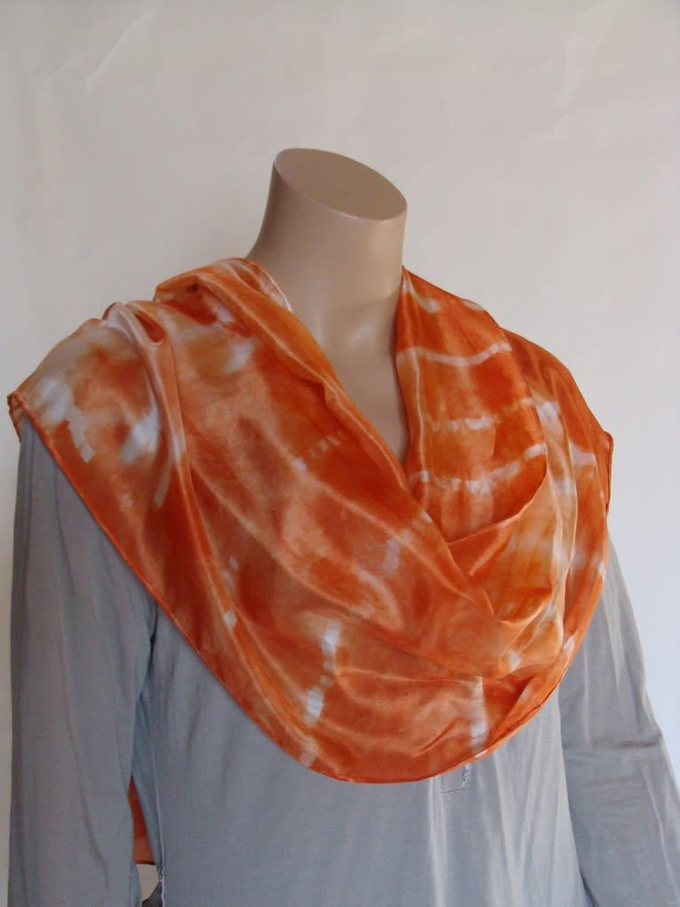 Echarpe soie orange