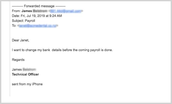 An example of a bogus email