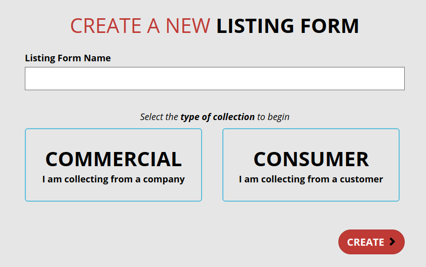 CRUD application allowing creating of listing forms detailing information on collectable debt