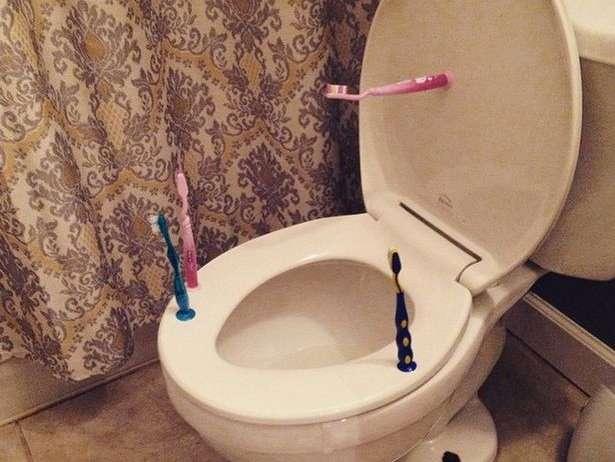 Reasons to keep an old toothbrush - Nice clean toilet seat hinges