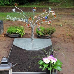 Kindergrafsteen glas en RVS Dagmar