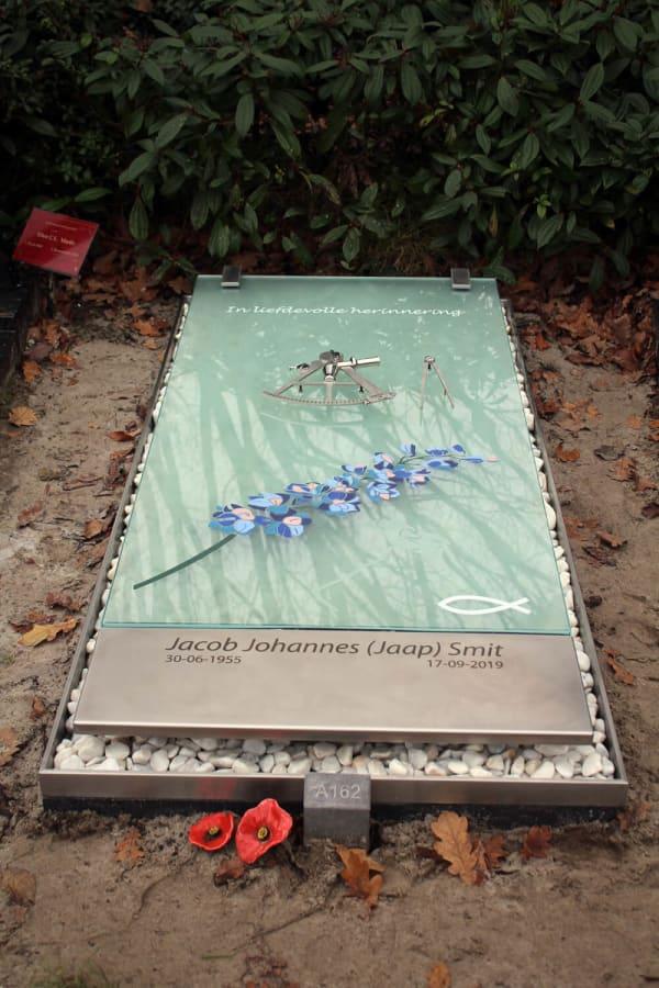 grafkunst van RVS316 en glas met kleurrijke ridderspoor bloem