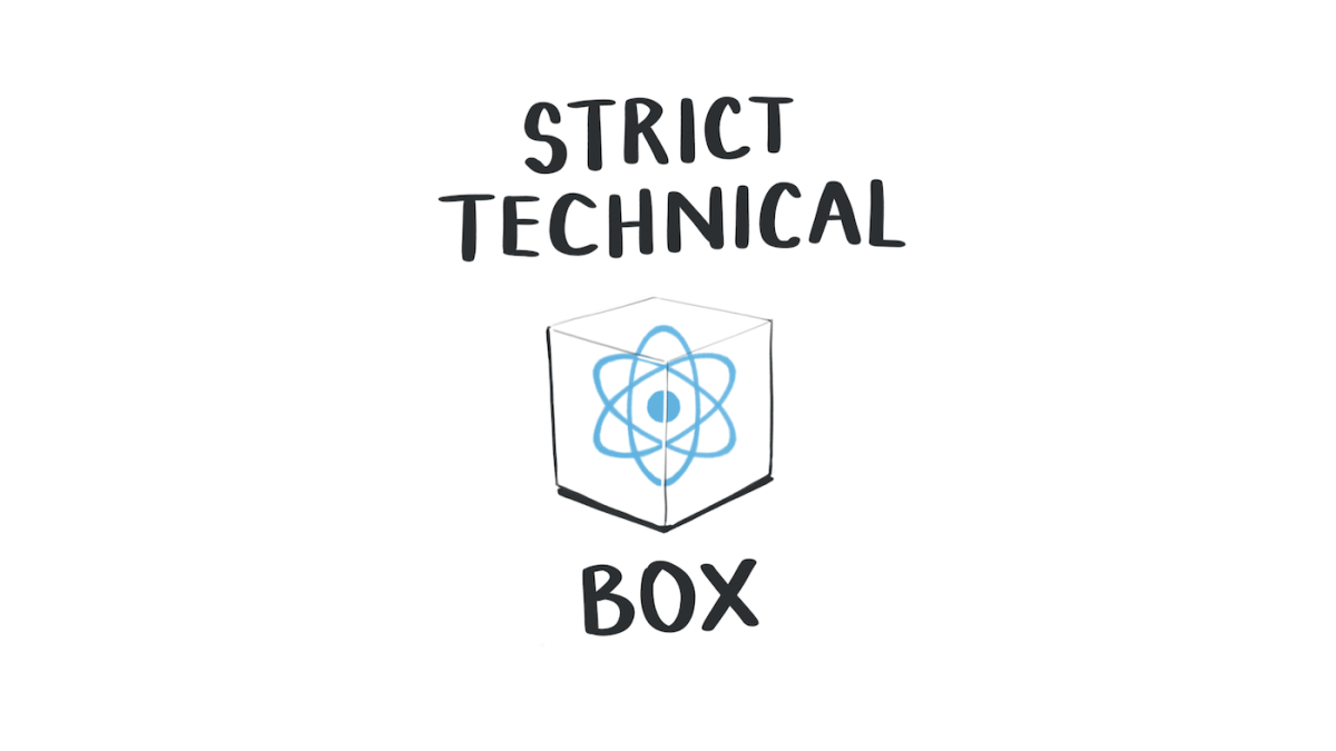 The react logo inside a strict technical box