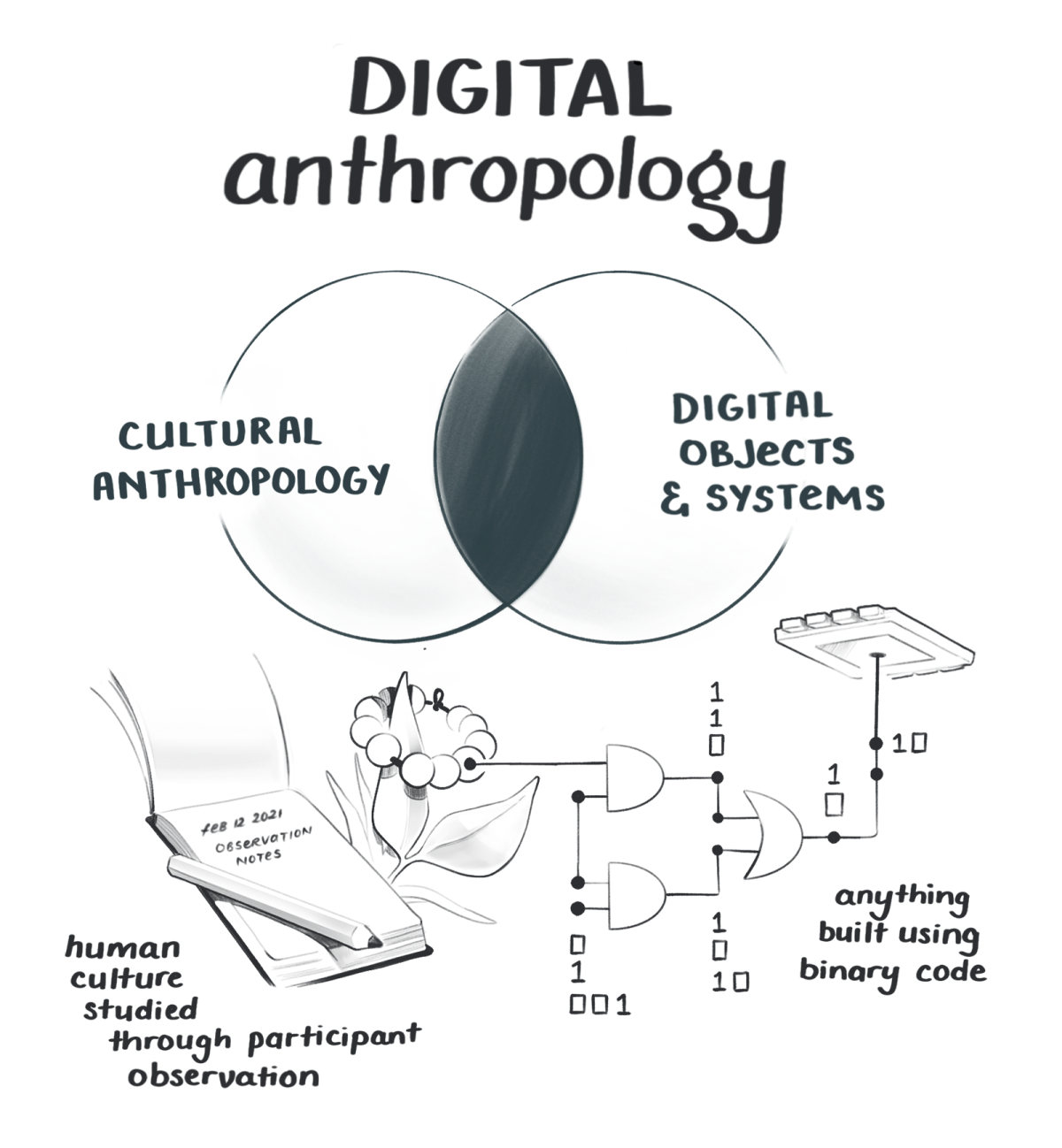 A venn diagram showing the intersection of anthropology and digital systems