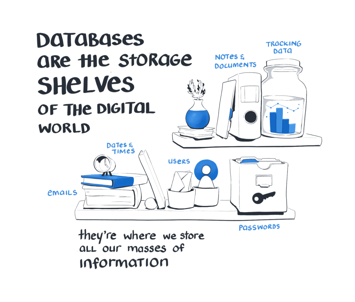 Databases are the storage shelves of the digital world. They're where we store all our masses of information.