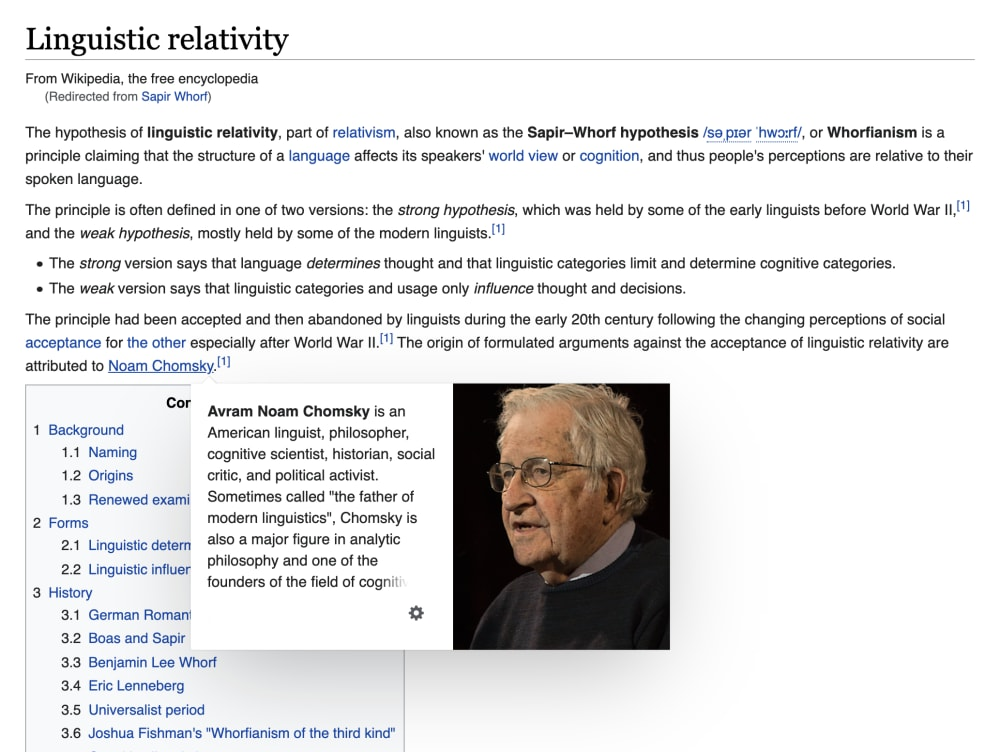 Wikipedia's interface showing one of the hover previews that appear over links