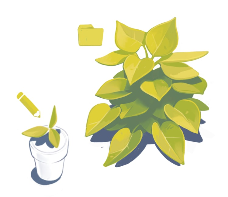 A green plant being edited by a pencil
