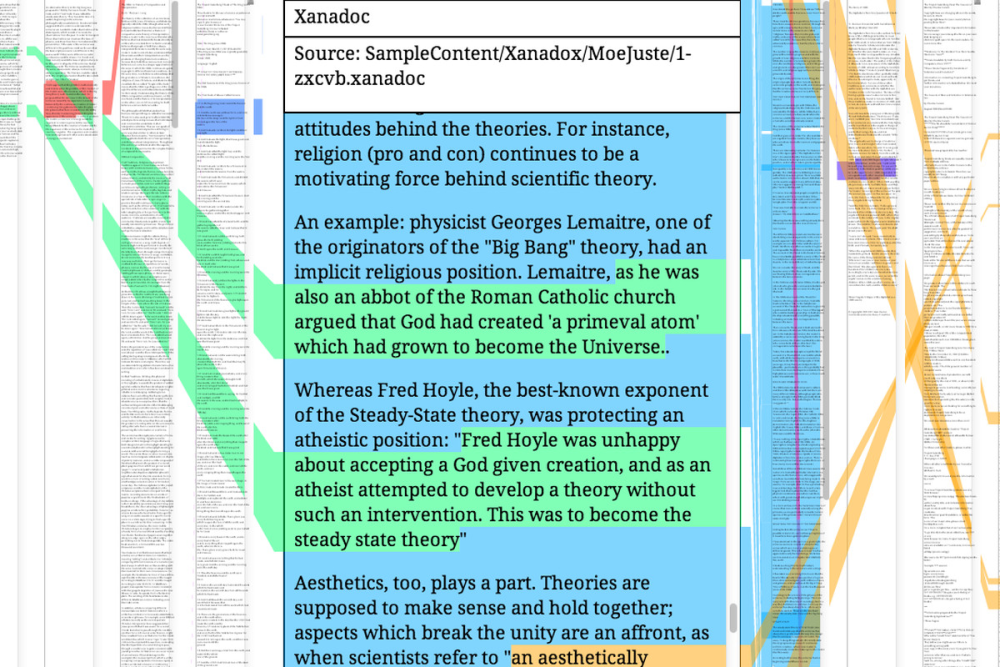 A design mockup of how Project Xanadu might visually connect pieces of text across multiple documents