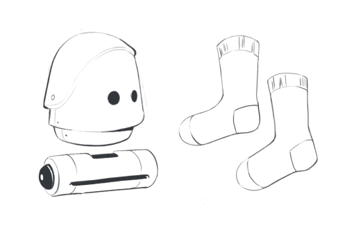 A robot and a pair of socks