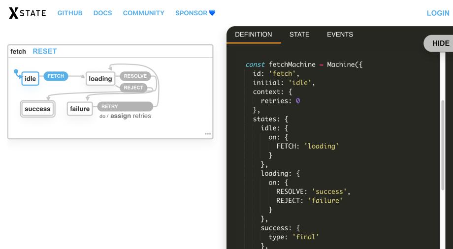 Screenshot of the xState visualizer