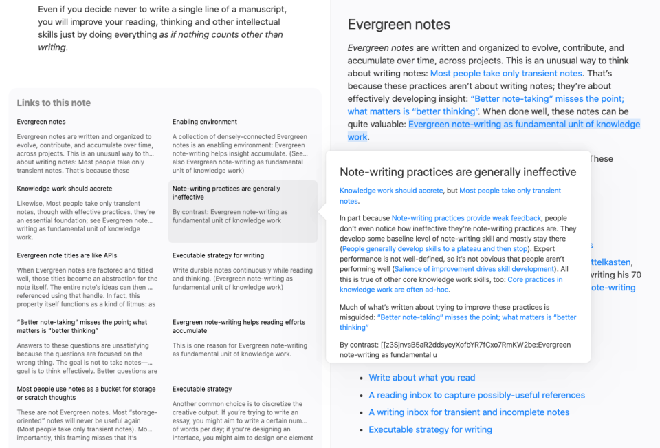 Andy's linked notes stack on top of one another, allowing you to browse to new notes while previous notes are still visible