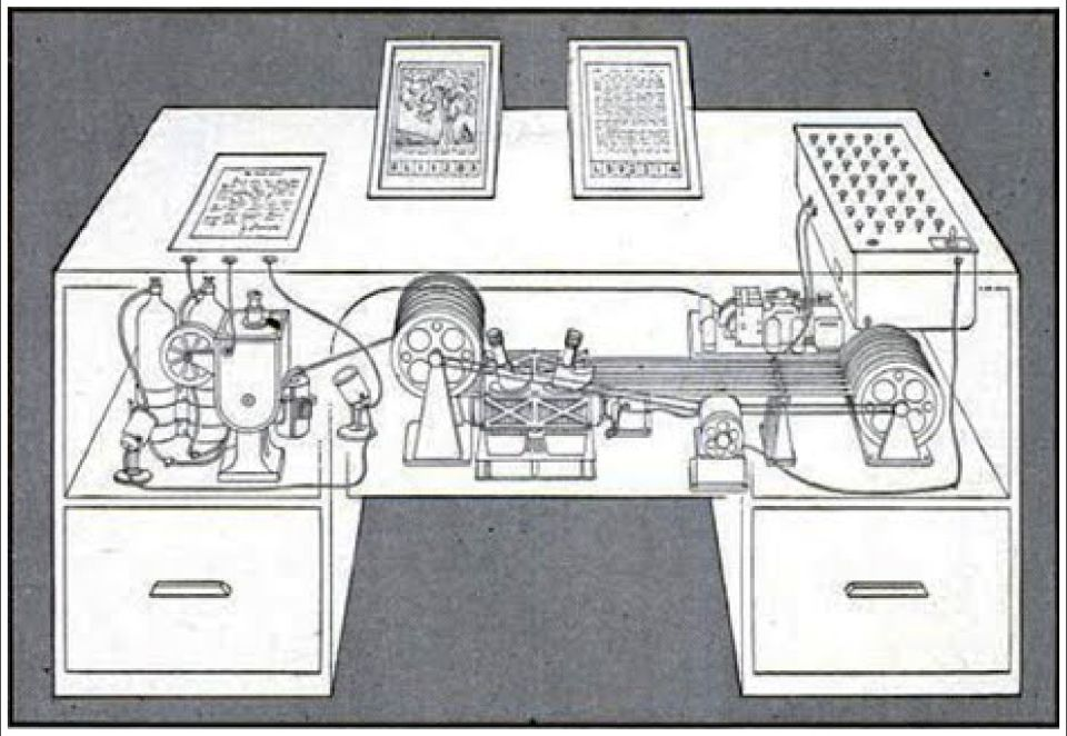 Vannevar even created a small informative diagram of this desk-bound vision. Marketing chops 101.