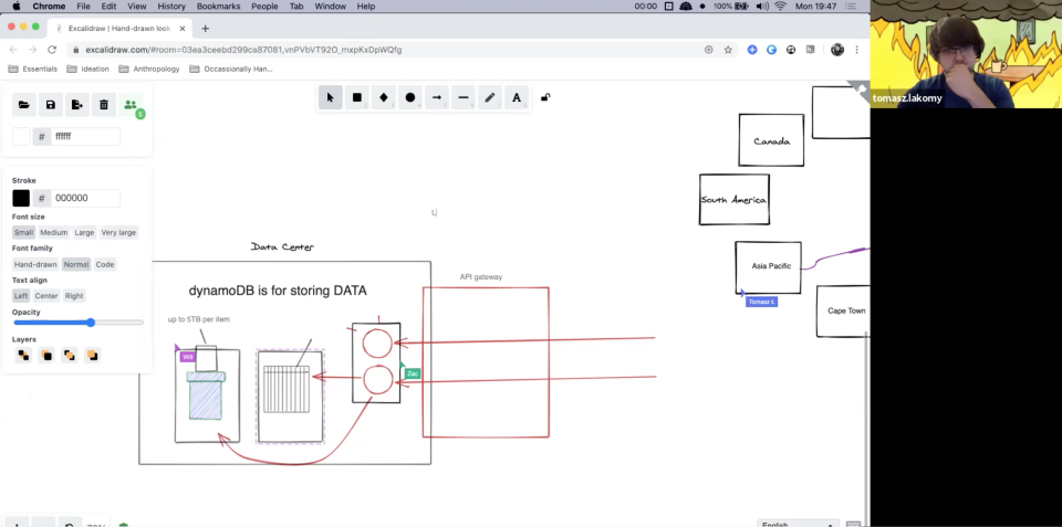 A screenshot of the zoom video call where we're drawing out rough diagrams