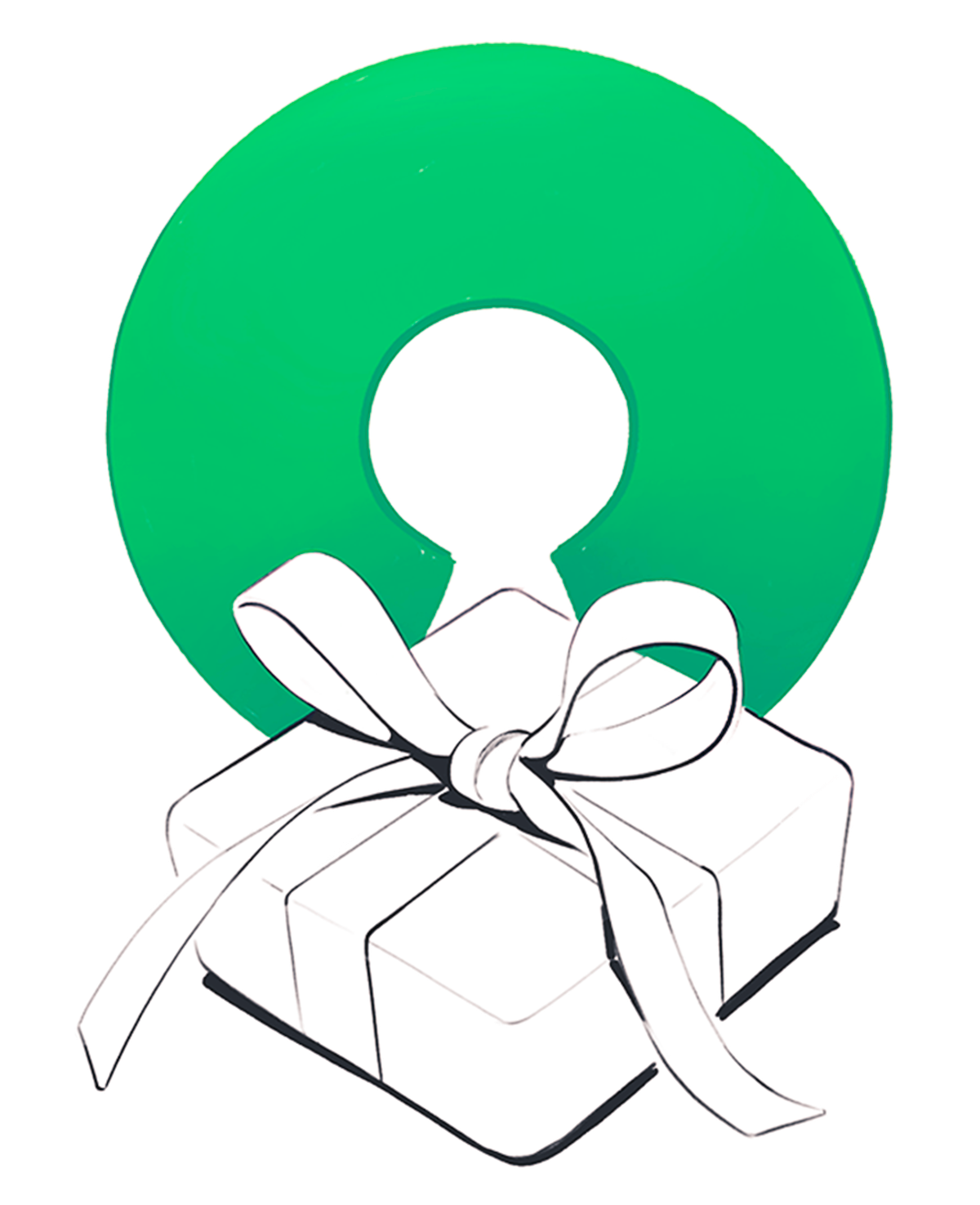 Illustration of a gift and the open source software symbol