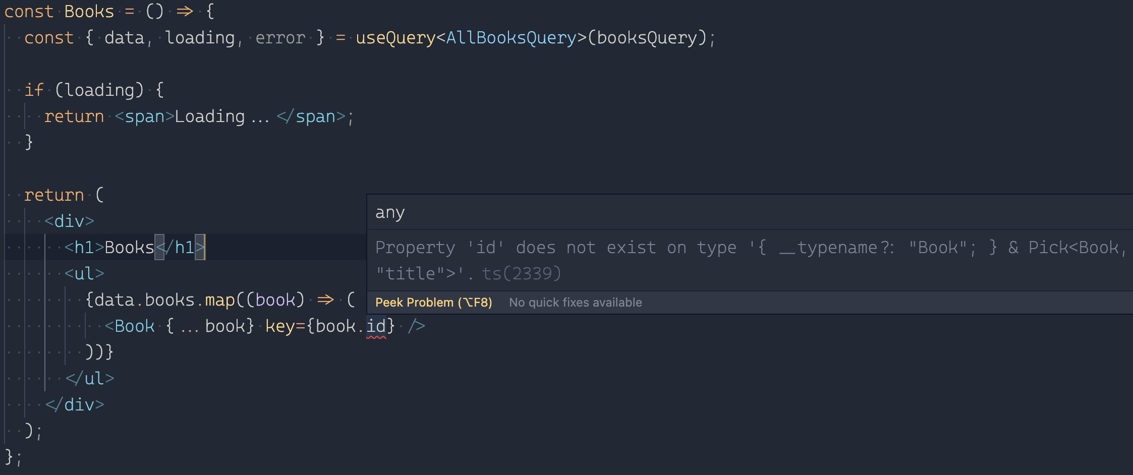 Property 'id' does not exist