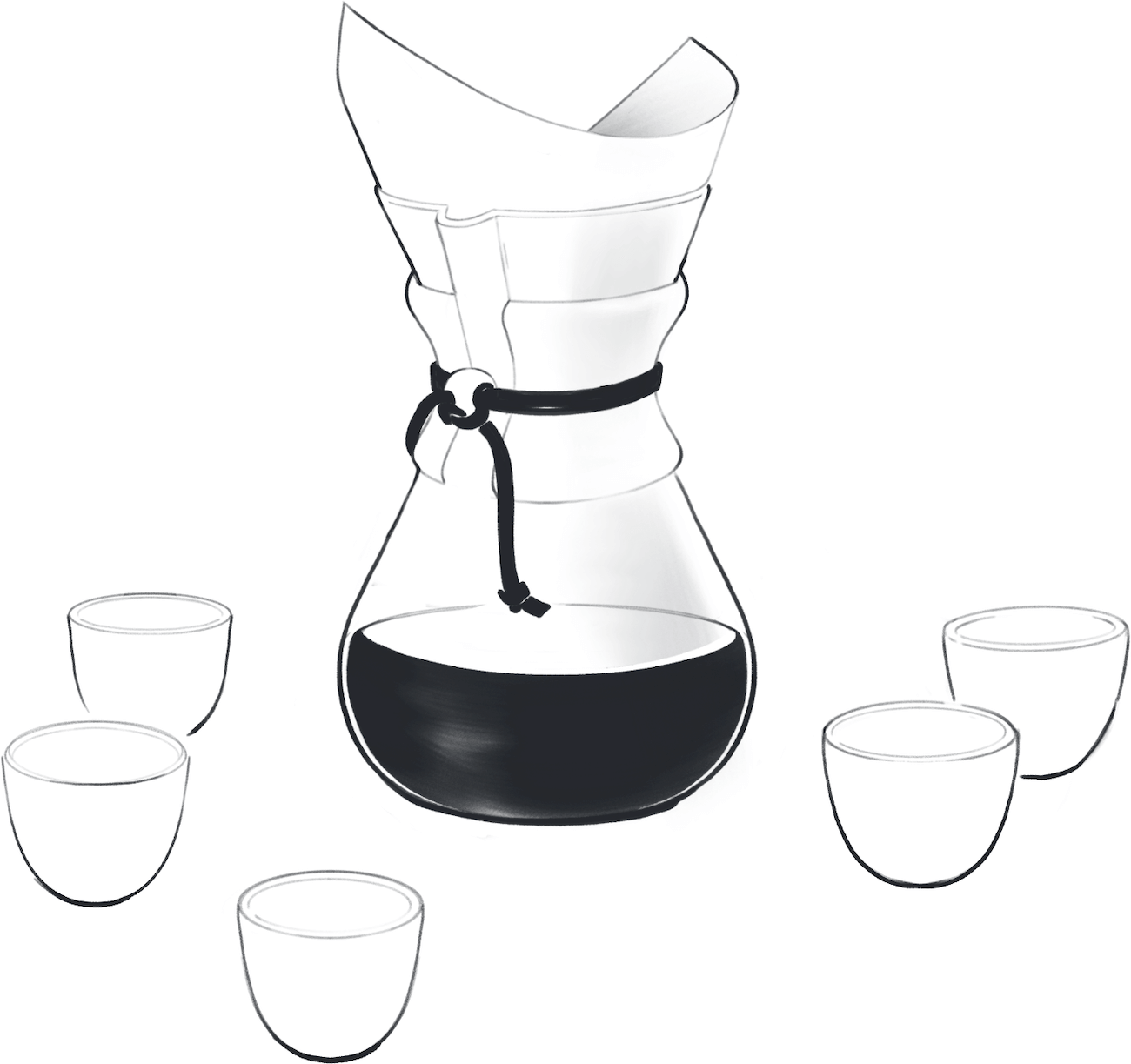 A chemex pour over vessel, surrounded by five small espresso cups