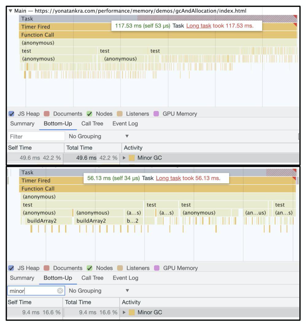 DevTools results comparison