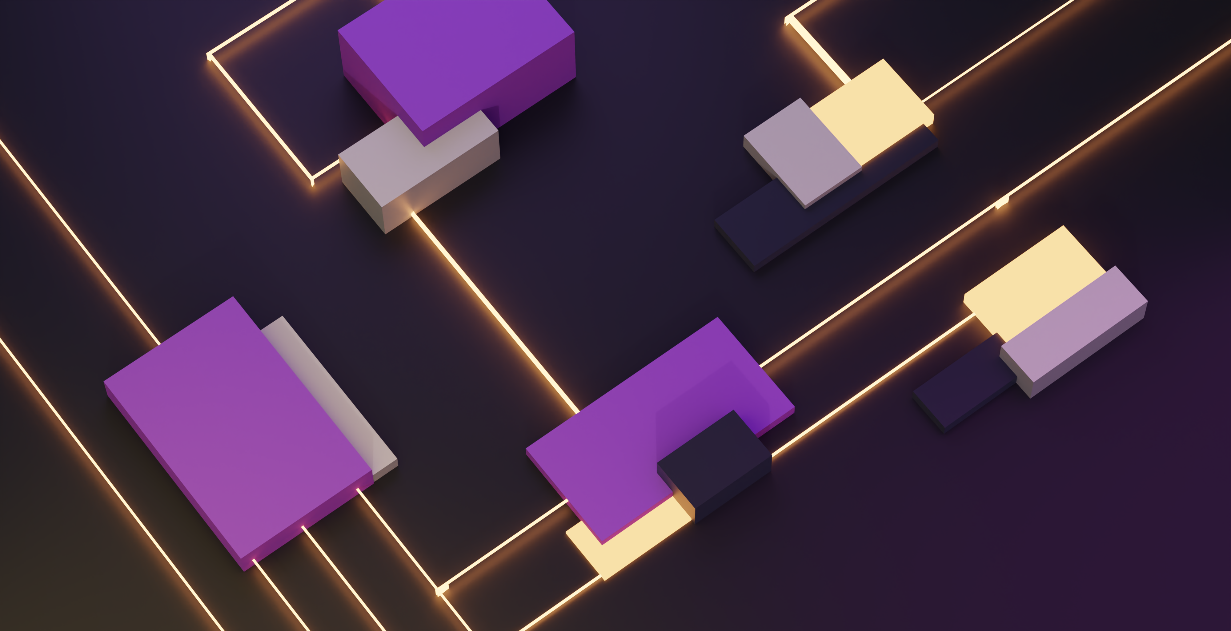 purple 3d shapes connected with glowing golden lines