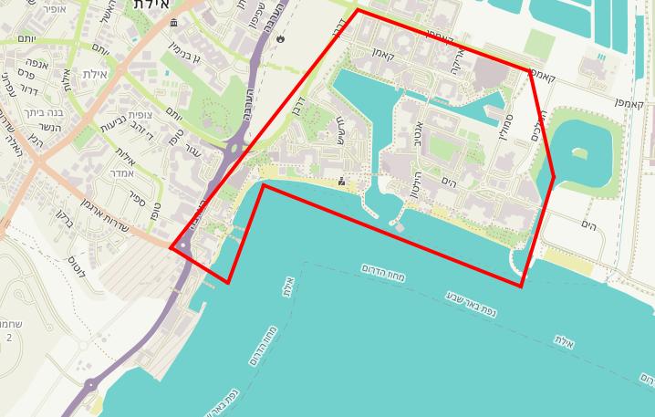 מפת אזורי הבילויים והאטרקציות באילת