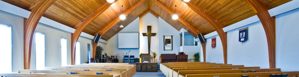 An empty church is set up for a Sunday church service.
