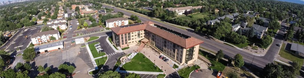 This is an aerial photo of Colorado Christian University's Yetter Hall and Peaks Apartments.