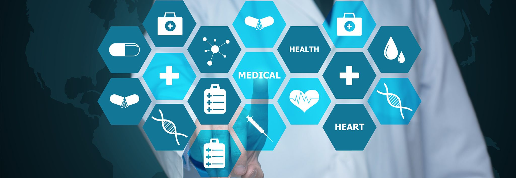 Healthcare administration icons include atoms, medication, and a first aid kit.