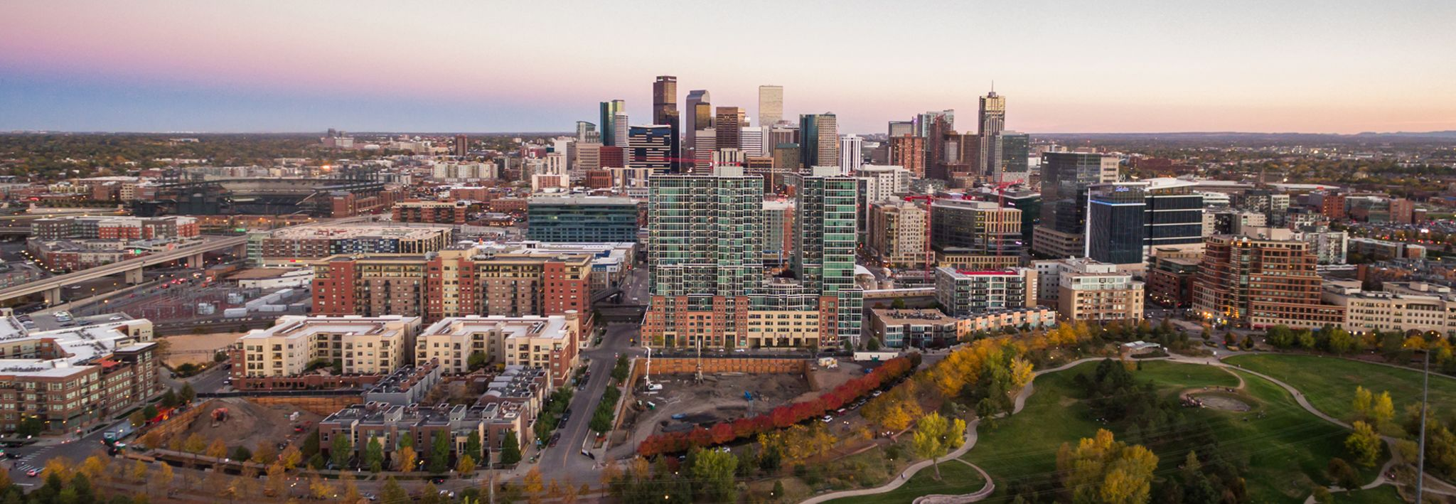 Beautiful view of the Denver skyline at sunset.