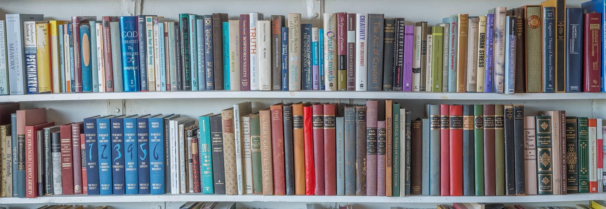 CCU's library book shelves.