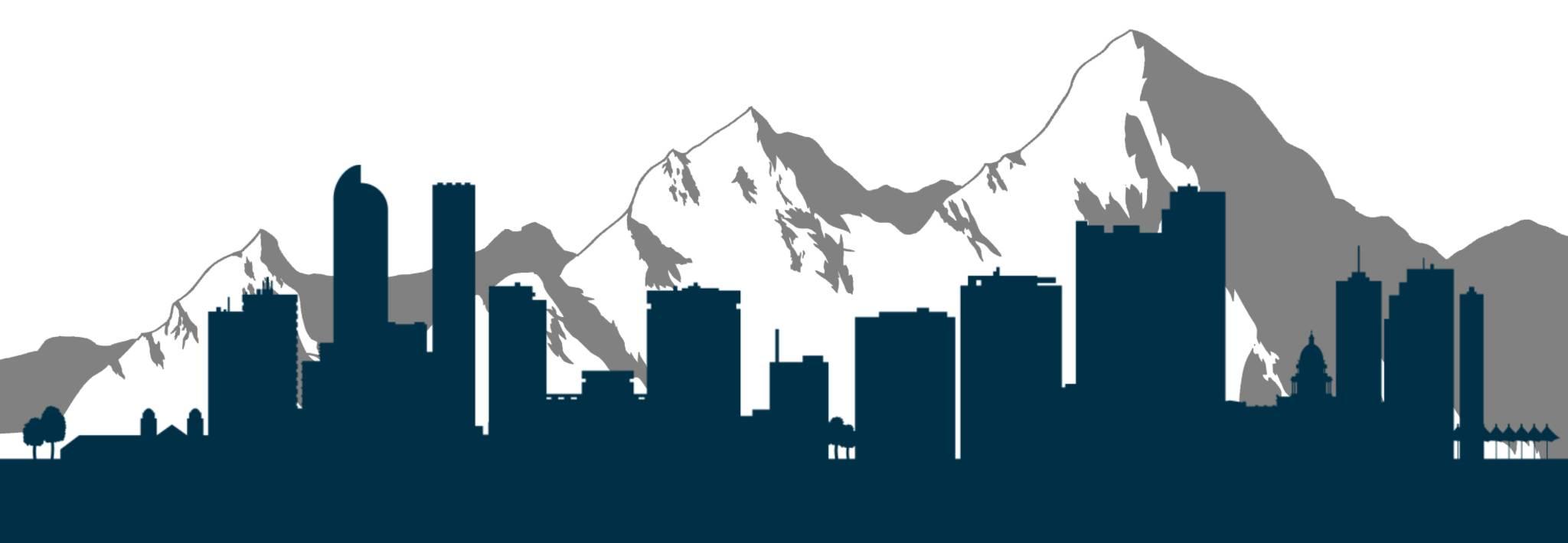 Artwork shows the city of Denver and mountains of Colorado.