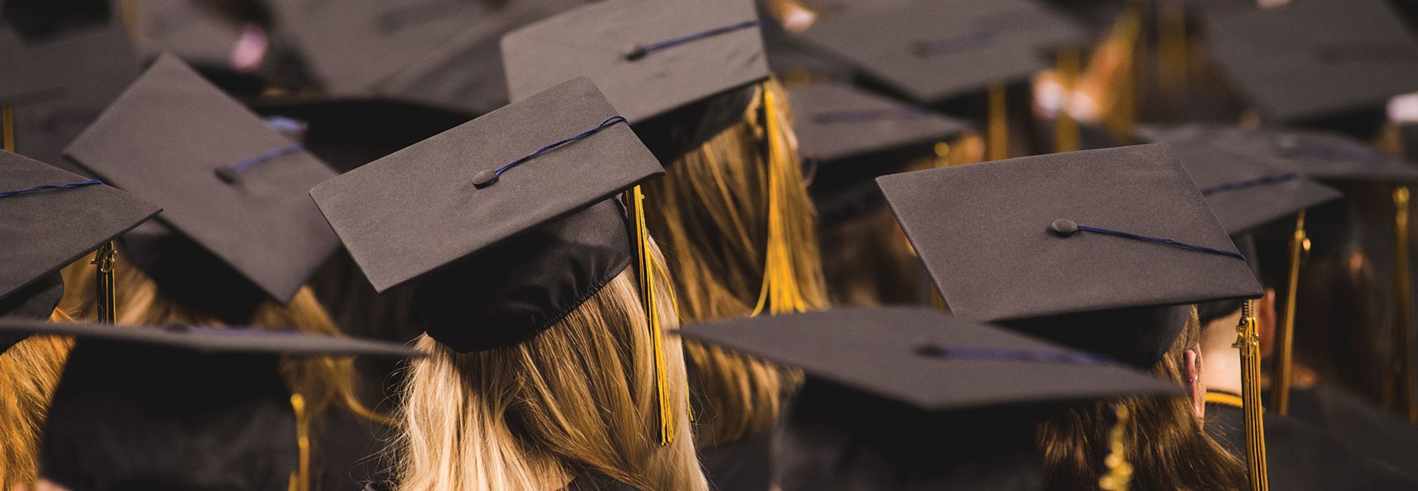 The caps of graduating students.