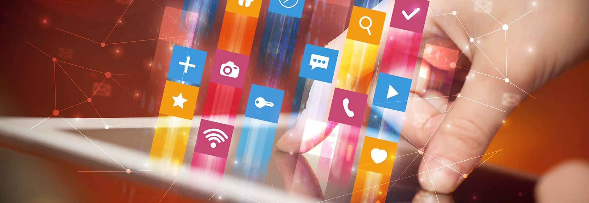 Digital media icons.