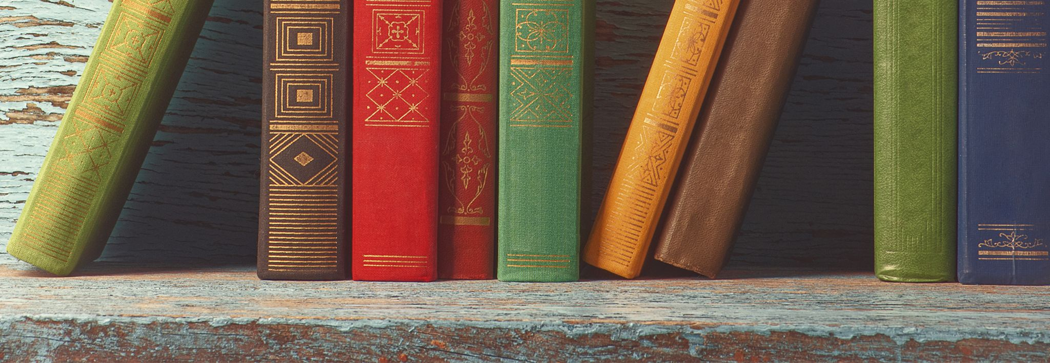 A collection of colorful books is sitting on a wooden shelf.