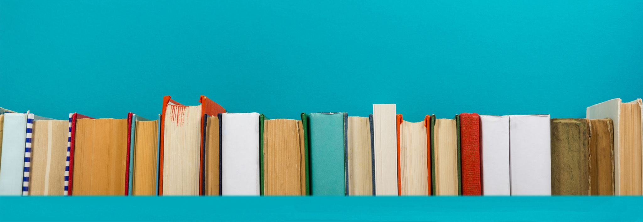 A group of colorful books is sitting on a shelf in a library.