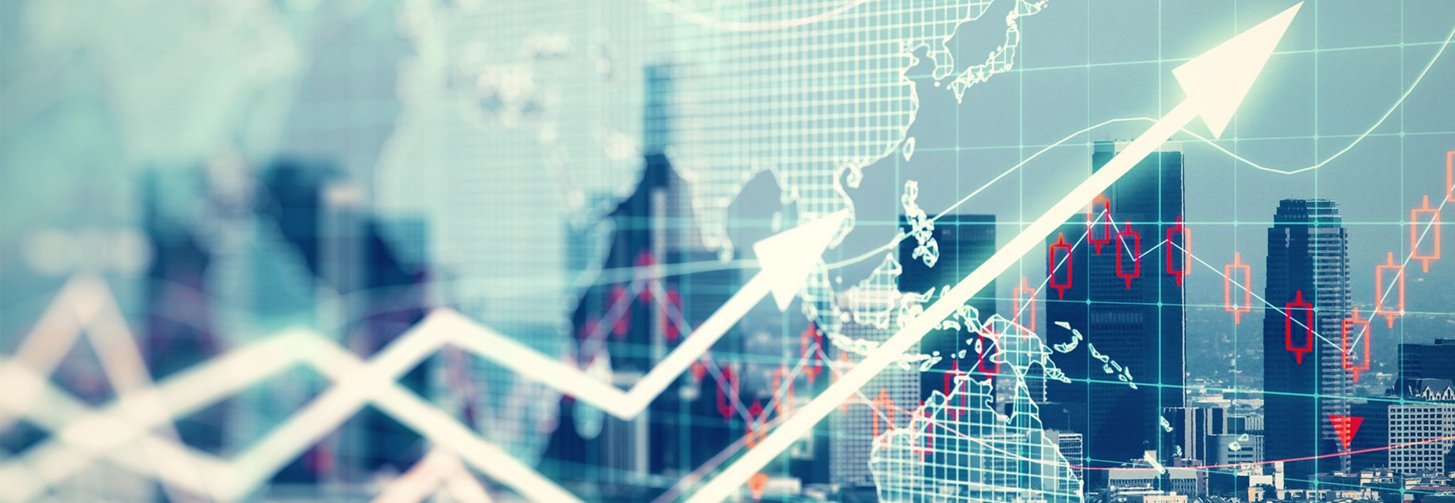 An electronic stock market chart represents growth and decrease in the stock market.